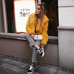 Fashiontwinstinct - Guess Fake Fur Jacket, River Island Pants, Vans Sneakers, Saint Laurent Bag - Yellow, yellow.