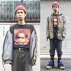 @KiD - Nas Illmatic, Blue Red Butturfly Remake Military Jacket, Rvca Chemical Denim Hoodie, Camper Bernhard Willhelm - JapaneseTrash226