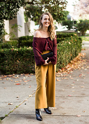 Jenaly Enns - Babaton Wide Leg Trousers, Acne Studios Cony Boots - Festive Fall look
