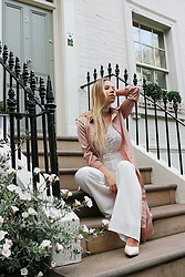 Masha Kiseleva - Missguided Silk Shirt Dress, Pretty Little Thing Lace Chocker, Pretty Little Thing Lacy Bodysuit, Missguided Palazzo Trousers, Asos Crocodile Leather Stilettos - Event Season