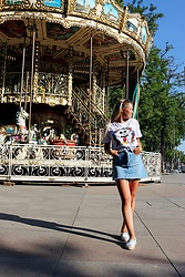 Masha Kiseleva - Bershka Disney Collection Tee, Bershka Denim Skirt, Espadrilles - Madrid Days