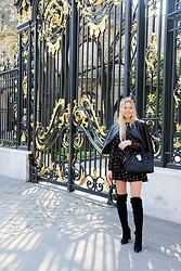 Masha Kiseleva - Asos Polka Dot Dress, Public Desire High Knee Boots, Michael Kors Purse, Zara Leather Jacket - Parisian