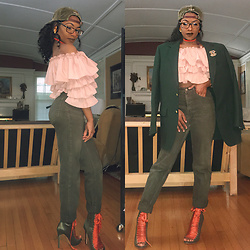 Gala F - Boohoo Off The Shoulder Top, Thrifted Army Green Jeans, Polo Ralph Lauren Corduroy Hat, Thrifted Army Green Wool Blazer, Steve Madden Heels - .::Chlorophyll SZN...Biology Teacher Off-Day Swag ::.