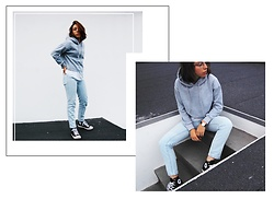 Maria Marques - Romwe Cropped Sweatshirt - Cropped Sweatshirt + Mom Jeans