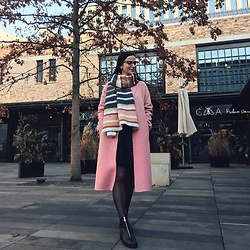 Nika Rema - Zara Coat, Zara Scarf, Stradivarius Boots, Zara Skirt, Conte Tights, Just Cavalli Glasses - More pink!