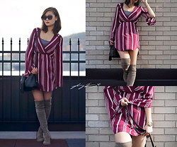L Z - The Jetset Diaries Striped Dress, Vince Camuto Purse, Stuart Weitzman Boots, Burberry Sunglasses, Burberry Watch - Oxblood stripes