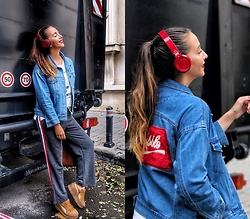 Manuella Lupascu - Vipshop Pants, Vipshop Jacket, Fenty X Puma Sneakers, Armani Exchange Headphones - What I wear on a casual & busy day