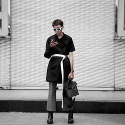 Kiko Kim - Calvin Klein Coat, Stradivarius White Belt, Uniqlo Trousers - Fashion Week Attire