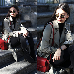 CLAUDIA Holynights - Romwe Turtleneck Sweater, Chic Wish Trench Coat, Vipshop Red Bag, Daniel Wellington Watch - Autumn style