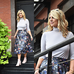 Jaclynn Brennan - Uniqlo Women Extra Fine Merino Ribbed Turtleneck Sweater, Zara Florals Leather Midi Skirt, Wanted Shoes Usa Sude Booties - Let's Grow Together