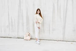 Sofie Rome - New Balance White Sneakers - Nude But Barely Naked