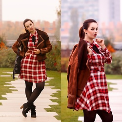 Drew - Orsay Dress, Topshop Jacket - Tartan autumn