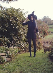 Maddie C - Thrifted Black Dress, Amazon Hat - Witches Coven