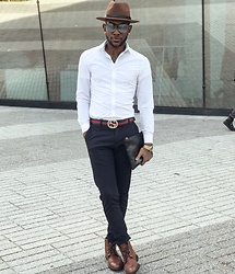 Kris Hilton - H&M Shirt, Zara Pants, Gucci Belt, 14th & Union Boots, Forever 21 Fedora - MOCA