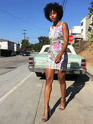 Marquise C Brown -  - Vintage Bodycon Print Dress