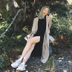 Linda Ding - Vintage Trench Coat, Weekday Black Dress, Nike White Sneakers - Greyed Out