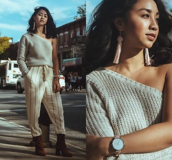 Mai Sunshine - Brave Soul One Shoulder Sweater, H&M Striped Lined Trousers, Mango Suede Heeled Booties, Charming Charlie Fringe Earrings, Vincera Collective Watch - Here of Her