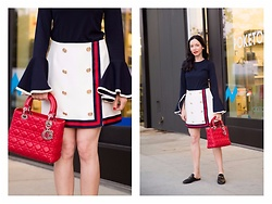 Lisa Valerie Morgan - Christian Dior Bag, Top, Skirt, Gucci Loafers - Ruffled Sleeve Top and East Coast Musings