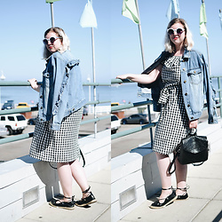 Elizabeth Claire - Whowhatwear X Target Denim Jacket With Ruffles, Whowhatwear X Target Black And White Gingham Dress, Pull & Bear Black Espadrilles, Zara Black Backpack - Santa Cruz