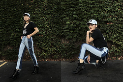 Pxkin - Adidas Denim Cap, Aldo Glasses, White Night Choker Tee, Kendall + Kylie Two Tone Mom Jeans, Forever 21 Black Booties, H&M Chain Accessories - White Night Concert