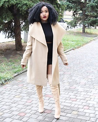 Ayeesha H - Calliope Coat, Gojane Boots - The Nude Affair
