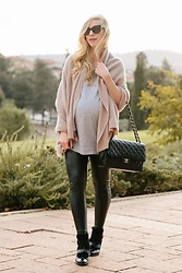 Meagan Brandon - Cashmere Wrap, Tunic Tee, Faux Leather Leggings, Paul Green Boots - Cashmere Wrap & Leather Leggings