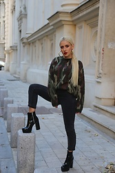 Sinziana Maria Iacob - Asos Black Boots, Asos Black Jeans, Na Kd Army Sweater - High Heels, High Hopes