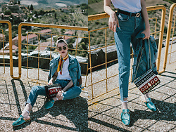 Andreea Birsan - Step Hem Two Tone Mom Jeans, Gucci Logo Belt, Blue Fur Velvet Mules, Striped Eyelet Shoulder Bag, White T Shirt, Silk Scarf, Star Printed Raw Hem Cropped Denim Jacket, Round Sunglasses, White Fishnet Socks - Denim on denim