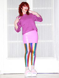 Luna Tiger - Light In The Box Purple Top, Light In The Box Pop Pink Vinyl Skirt, Light In The Box Metallic Rainbow Leggings - LIGHT IN THE BOX