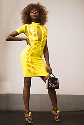 Melody Jacob -  - Mesh Panel Bodycon Bandage Dress