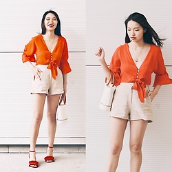 Joy Li - Forever 21 Red Crop Top, Loeil Handbag, Urban Outfitters Block High Heel, H&M Necklace, Pinko Natural Color Shorts - That orange flare
