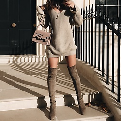 Gabriele Gzimailaite - Stuart Weitzman Bootz, Karl Lagerfeld Bag - The Power of Beige