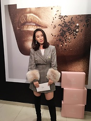 WMwatchme - Zara Checked Blazer, Maison Elama Fur Cuff - Pop up Shop Opening Event