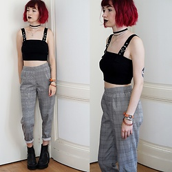 Lea B. - Forever 21 Top, Pull & Bear Pants, Unif Shoes - Plaid Pants
