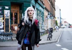 Kimi Peri - Vii & Co. Vegan Leather Jacket, Vintage Plaid Skirt, Tights, Viu Eyewear Glasses, Choker, The Rogue + Wolf Moon Ritual Cardigan, H&M Belt, Disturbia All Seeing Backpack, Disturbia Left Hand Path Shirt - Ombré and Plaid
