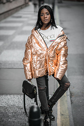 Rachel O. - H&M Metallic Oversized Puffer, Gucci Logo Tee, Zara Hoop Earrings, Karl Lagerfeld K, Balenciaga Buckled, H&M High Waist Distressed - Daytime Metallics