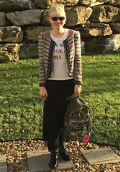 Shannon D - Rebecca Minkoff Jacket, Chanel Graffiti Backpack, Saint Laurent Boots, Marc By Jacobs Tee, Chanel Earrings, Oliver Peoples Sunglasses - Saint Laurent Ranger Boots