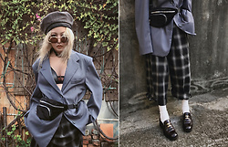 Vita Chen - Vii & Co. Vintage Plaid Beret, Vii & Co. Padded Shoulder Bf Blazer Coat, Vii & Co. Curve Round Sunglasses, Vii & Co. Velvet Funny Pack, Vii & Co. Checkered Zip Straps Pants, Chanel Vintage Loafers - Oversize suit
