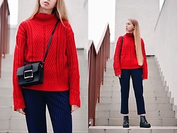 Lisa - Sweater, Bag, Zaful Pants - Red sweater