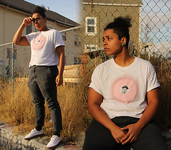 Drea - Supreme Tinder Tee, Pacsun Slate Grey Trousers, Vans White - There's No One New Near You