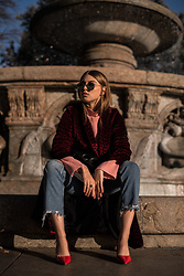 Swantje Sömmer | OffwhiteSwan - Mango Denim, Shop All Items On My Blog - Velvet Coat, Used Denim & Red Slingbacks