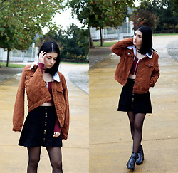 Adriana R. - Rosegal Brown Cropped Jacket, Chicme Zipper Wine Red Top, Black Faux Suede Skirt, Ebay Faux Suede Brown Choker - Fall Shades / Brown Cropped Jacket