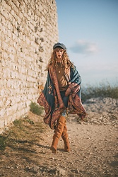 Alexe Bec - Doll Poupée Kimono, Zara Over The Knee Boots, Brixton Cap - Blue Denim
