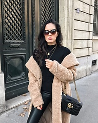 The Day Dreamings - H&M Teddy Coat, Zara Turtleneck, Freyrs Sunglasses, Gucci Bag, H&M Pants - Chic in Paris