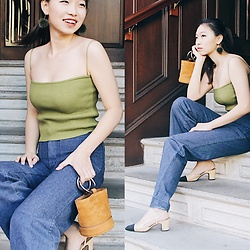 Joy Li - Unif Green Top, Urban Outfitters Renew Flare Jeans, Chanel Sling Back, Simon Miller Bucket Bag - Unif moss top