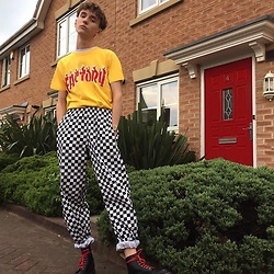 Lukas Hudec - Dr. Martens Boots, Asos Trousers, Urban Outfitters Top - ?????