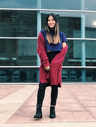 "Grace Martinez - Target Burgundy Cardigan, Forever 21 ""No Hard Feelings"" Shirt, Forever 21 Black High Waisted Denim Jeans, H&M Black Chelsea Boots - Falling for this weather ??"
