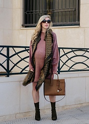 Meagan Brandon - Topshop Sweater Dress, Louis Vuitton Scarf, Saint Laurent Sac De Jour, Stuart Weitzman Boots - Rose & Olive for Fall