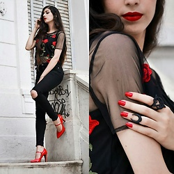 Mimi Akumette - Rogue And Wolf Rings, Rotelli Shoes Heels, Forever 21 Top, Sephora Lipstick - My soul is red. akumette.com