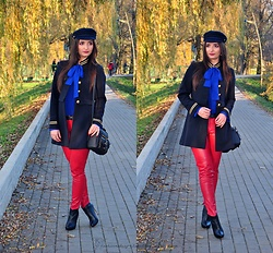 Natalia Uliasz - Rosegal Beret Hat, Rosegal Blouse, Sammydress Military Coat, Zaful Bag, Orsay Red Leather Pants - Colorful army